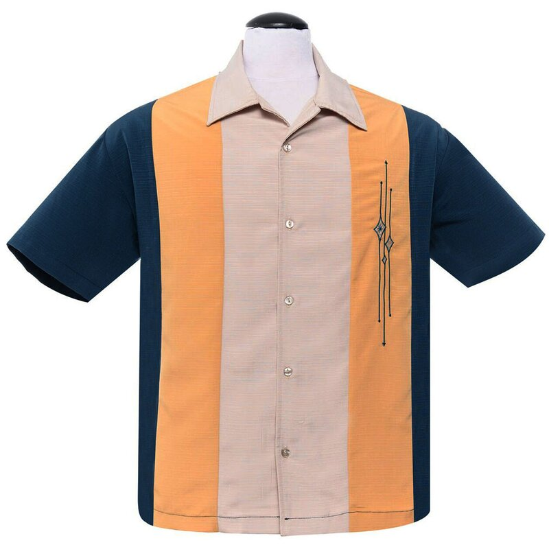 Steady Clothing Vintage Bowling Shirt - The Trinity Türkis-Gelb L