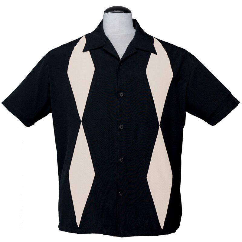 Steady Clothing Vintage Bowling Shirt - Diamond Duo Schwarz S