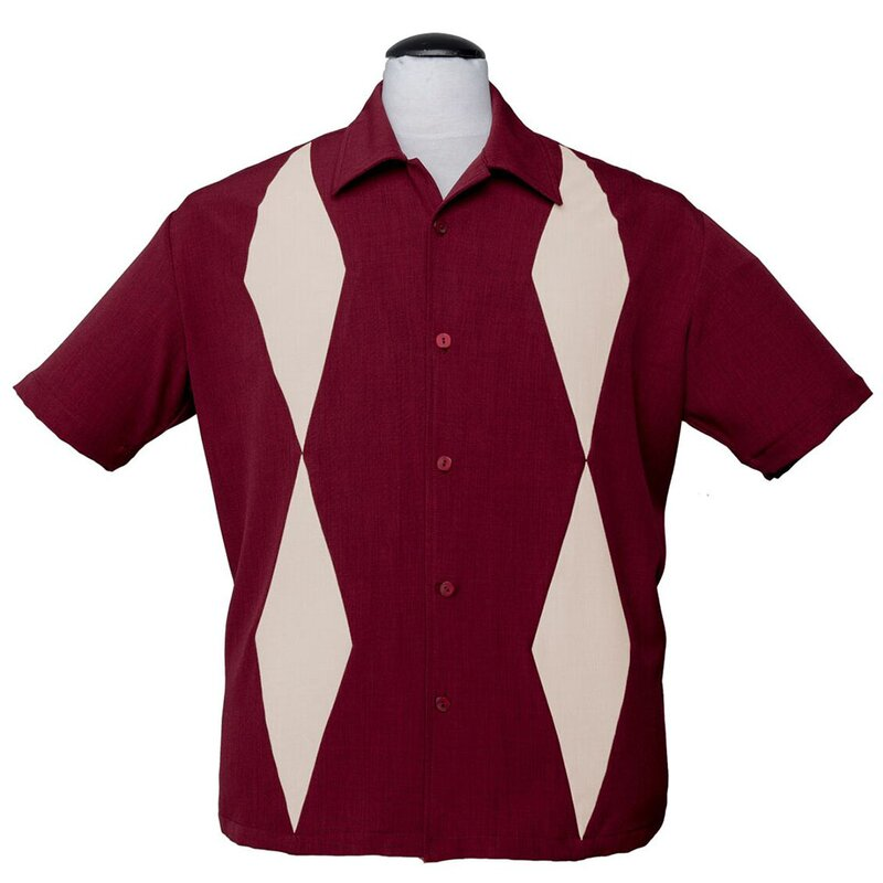Steady Clothing Vintage Bowling Shirt - Diamond Duo Burgunder