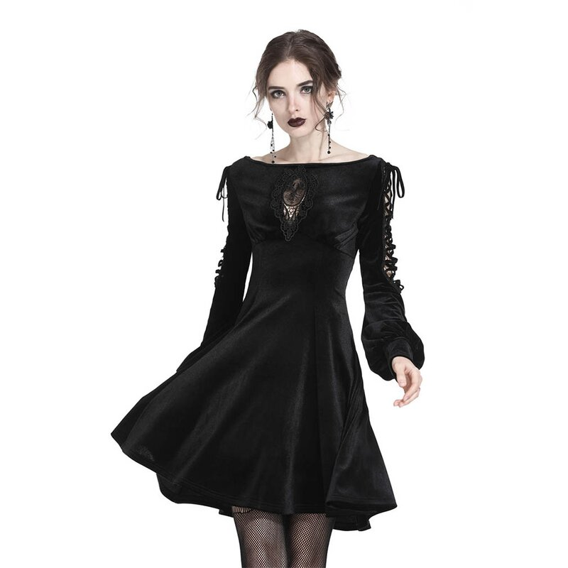 Dark In Love Minikleid - Lace-Up Puff