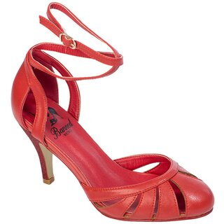 Banned Retro Ankle Strap Pumps - Vast Lagoon Red