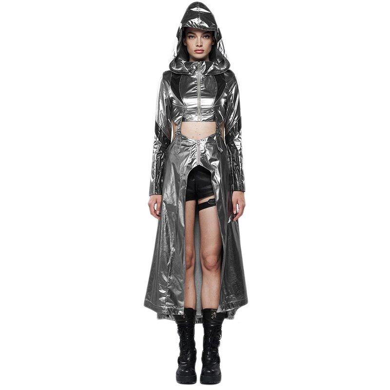 Punk Rave 2-in-1 Mantel / Crop Jacke - Cyber Queen XXL