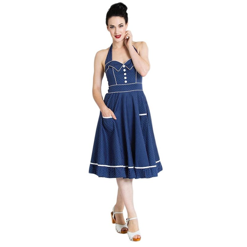 Hell Bunny Neckholder Kleid - Vanity Dress Navy