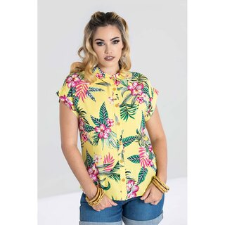 Hell Bunny Blouse - Kalani Shirt Yellow