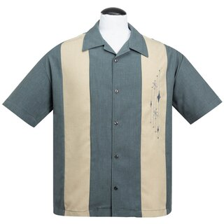 Steady Clothing Vintage Bowling Shirt - Mid Century Grey