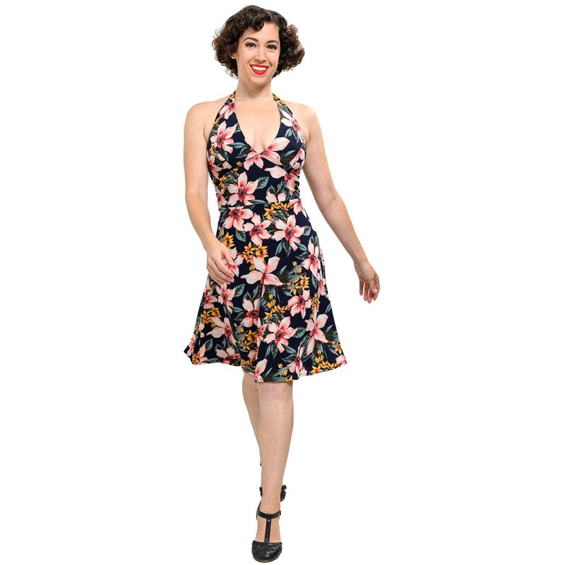 Steady Clothing Halter Kleid - Tropical Navy