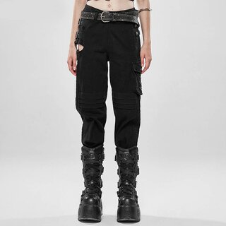 Punk Rave Denim Cargo Trousers - Monstera