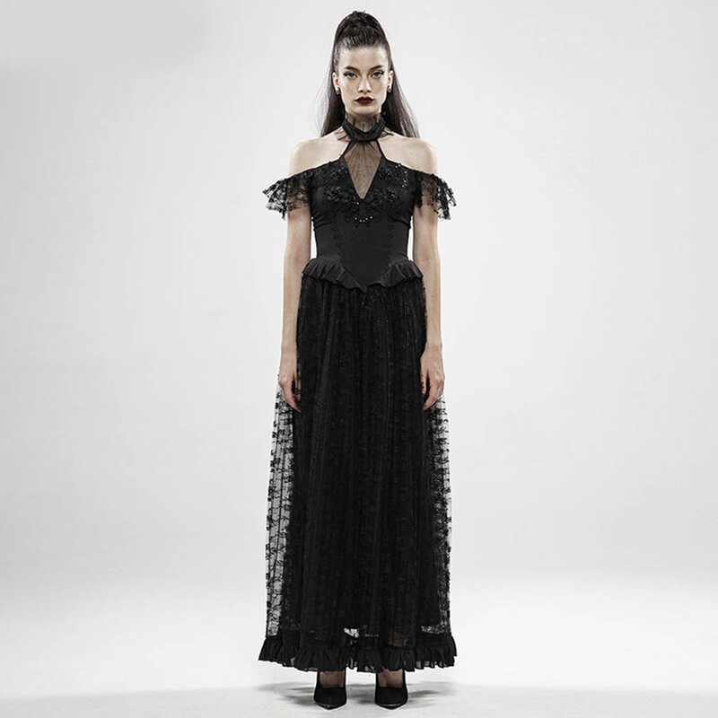 Punk Rave Maxikleid - Black Lily of the Valley S