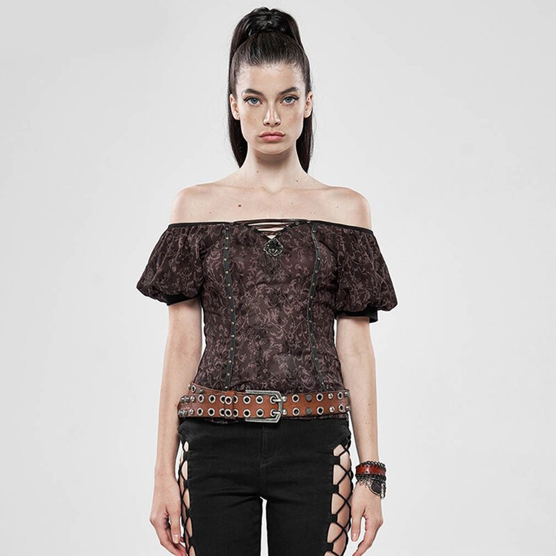 Punk Rave Carmen Top - Espresso Flowers
