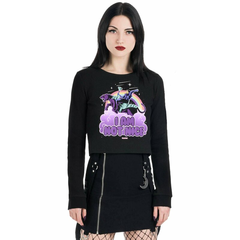 Killstar X Skeletor Crop Top - Not Nice Thermal XS