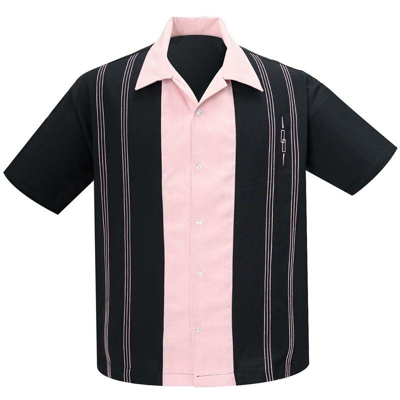 Steady Clothing Vintage Bowling Shirt - The Harper Black