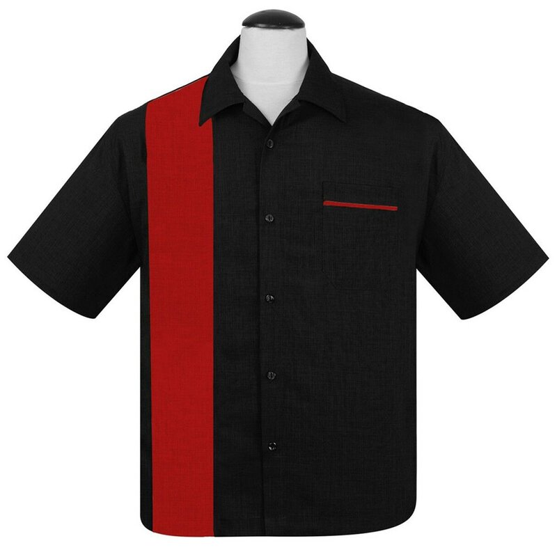 Steady Clothing Vintage Bowling Shirt - Single Poplin Schwarz-Rot 4XL