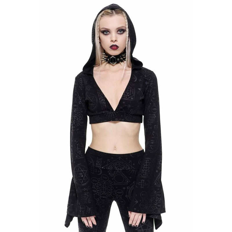 Killstar Langarm Crop Top - Witchhead XXL