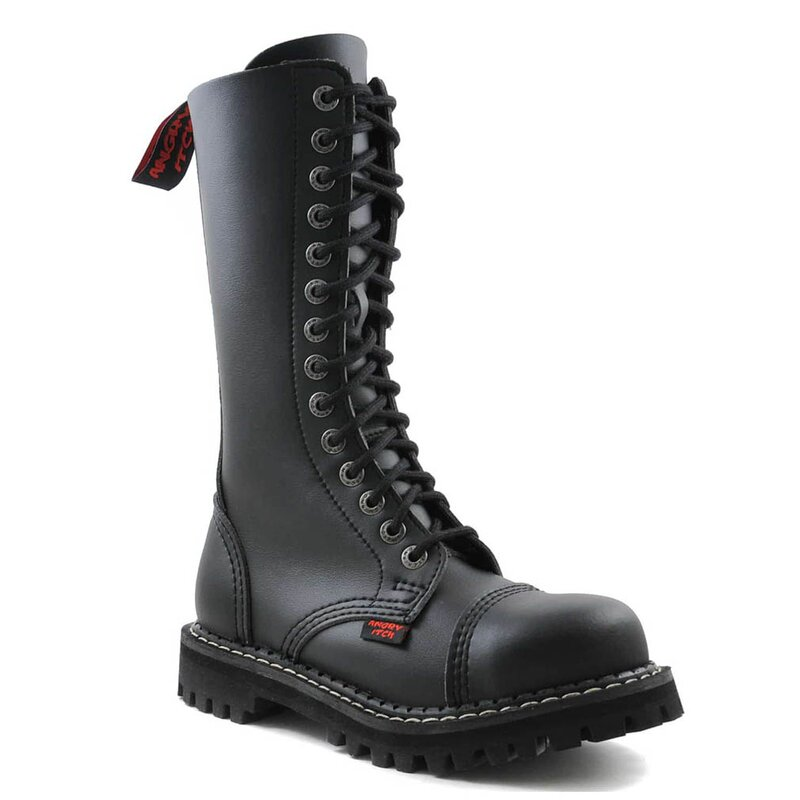 Angry Itch Faux Leather Boots - 14-Eye Ranger Black